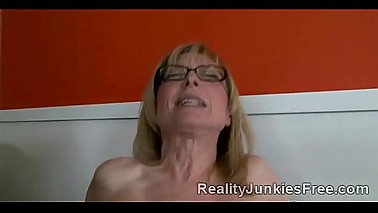 Blond MILF helps her worthless son to keep his job