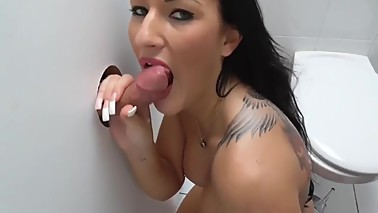 Amateur wife gloryhole cumshot threesome