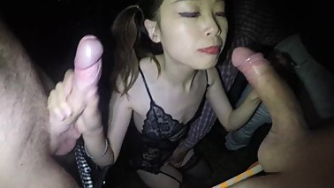 Bukkake - Hotwife Schoolgirl with pigtails 6 guys 4 cum loads in bukkake