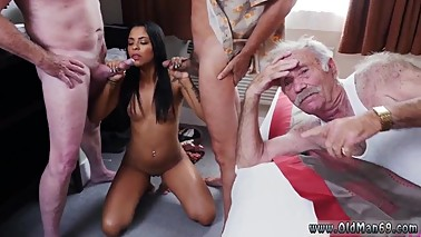 Wife kissing old man and horny old grandpa and big old boner and cytheria