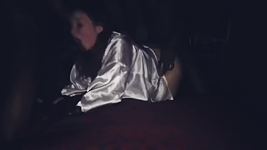 White wife in satin robes gets gangbanged by BBC