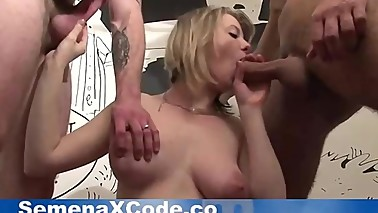 husband give a 5 months pregnant wife to be fucked doggystyle in threesome
