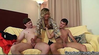 Hot threesome with two guys and sexy mom