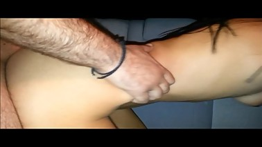 Real amateur threesome hot wife shared by husband and stranger public