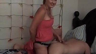 Cuck husband gets pegged by strapon wife Sharon