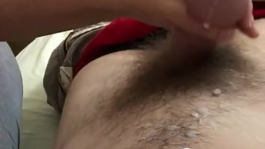 Lazy Asian Wife Tugging off Hubby's Morning Load
