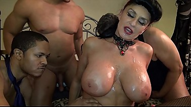 Granny goes Black-Potty-mouth White GILF takes 3-way BBC fuck of her life
