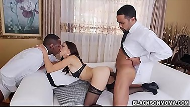 Sexy housewife Eva Long fucked with two strangers