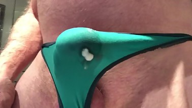 Wifea€™s green thong double cumshot