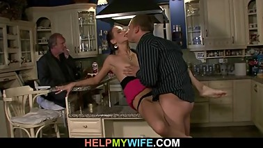 Cuckolding surprise for his young brunette wife