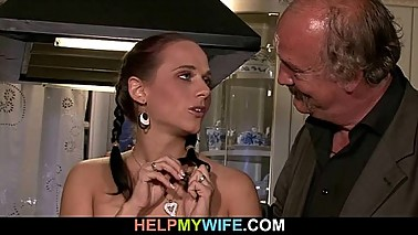 Older husband arranges naughty cuckolding