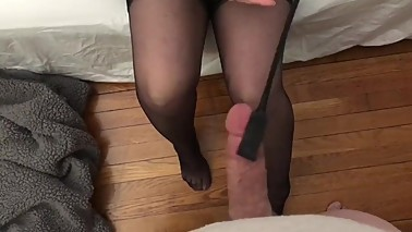 Hotwife punishes cuck for cum on stockings
