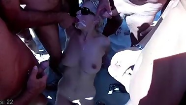 Bukkake at beach 48 cumshot! wife shared