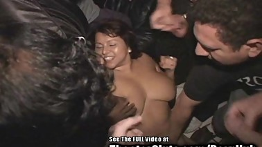 Big Ass Titties Latina Wife Gang Fucked in Porno Theater!